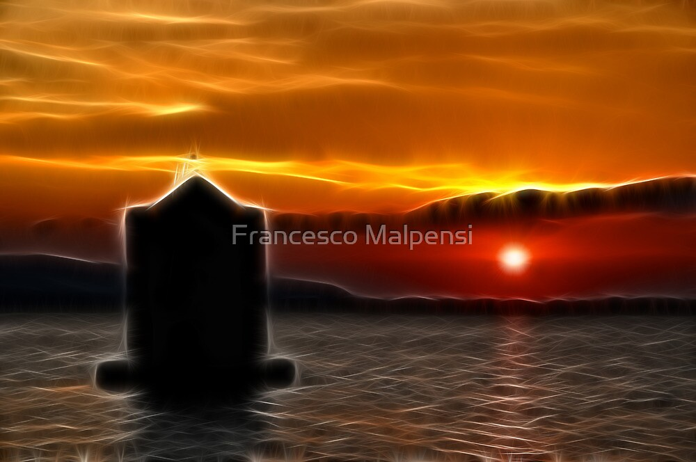 Impressionist Sunset Mill silhouette in Tuscany by Francesco Malpensi