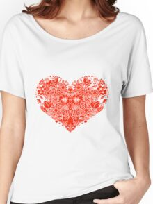 Red flower love heart Women's Relaxed Fit T-Shirt