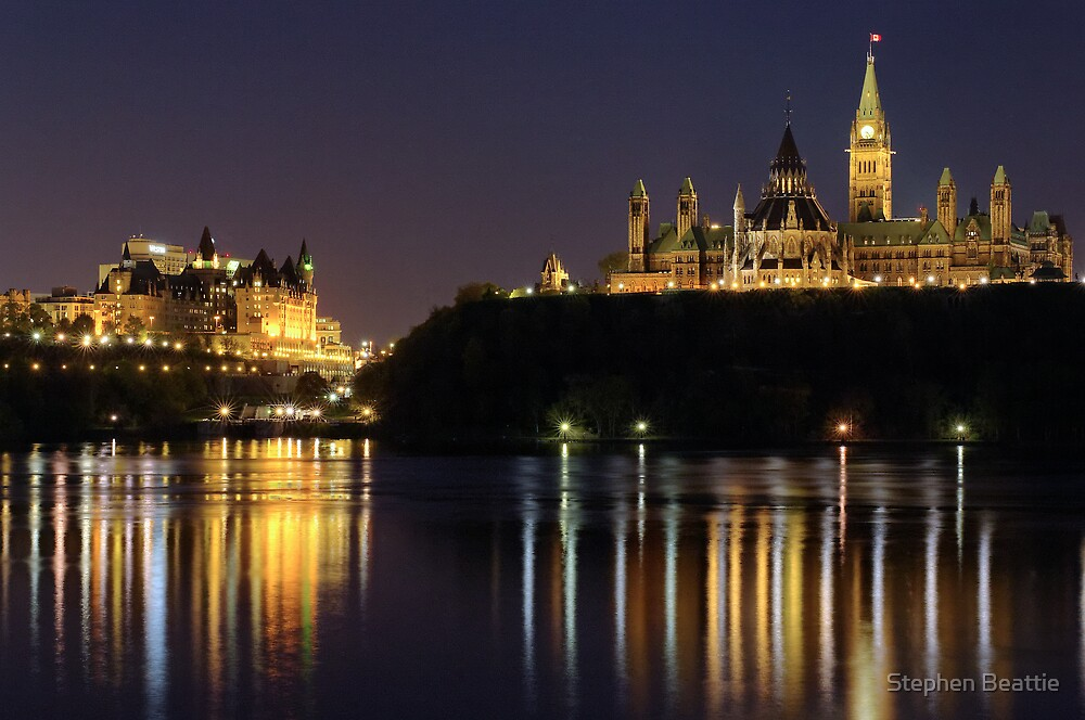 Canadian Parliament & Chateau Laurier - Night by Stephen Beattie