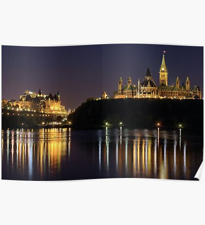 Canadian Parliament & Chateau Laurier - Night Poster