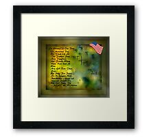 MEMORIAL DAY TRIBUTE..HOPES OF PEACE Framed Print