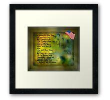 MEMORIAL DAY TRIBUTE..HOPES OF PEACE Framed Print