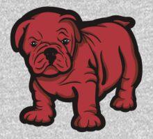 Grumpy Bull Dog Puppy Red One Piece - Long Sleeve