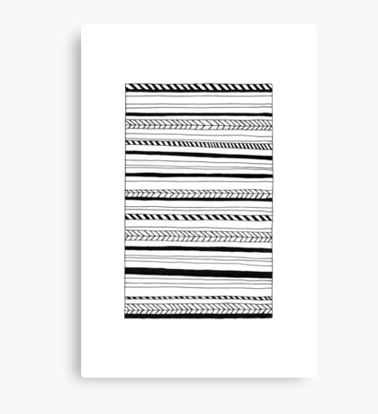 Abstract Black Lines Pattern Canvas Print