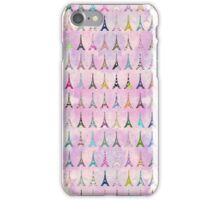 Chic pink watercolor Eiffel Tower pattern iPhone Case/Skin