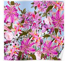 Girly pink cute lillies orchids flowers pattern Poster
