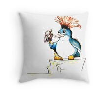 Penguin Punk Throw Pillow