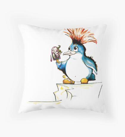 Penguin Punk Throw Pillow
