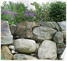 stone wall with flowers Poster