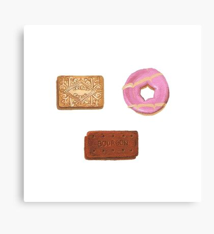 Biscuits: Custard Cream, Party Ring and Bourbon Canvas Print