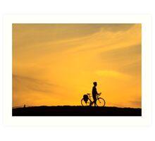 Riding into Sunset Art Print
