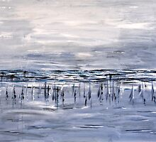 Nets at low tide by Elaine Davoren