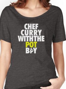 Chef Curry With The Pot Boy [With 3 Sign] White/Gold Women's Relaxed Fit T-Shirt