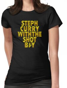 Steph Curry With The Shot Boy [With 3 Sign] Shiny Gold Womens Fitted T-Shirt