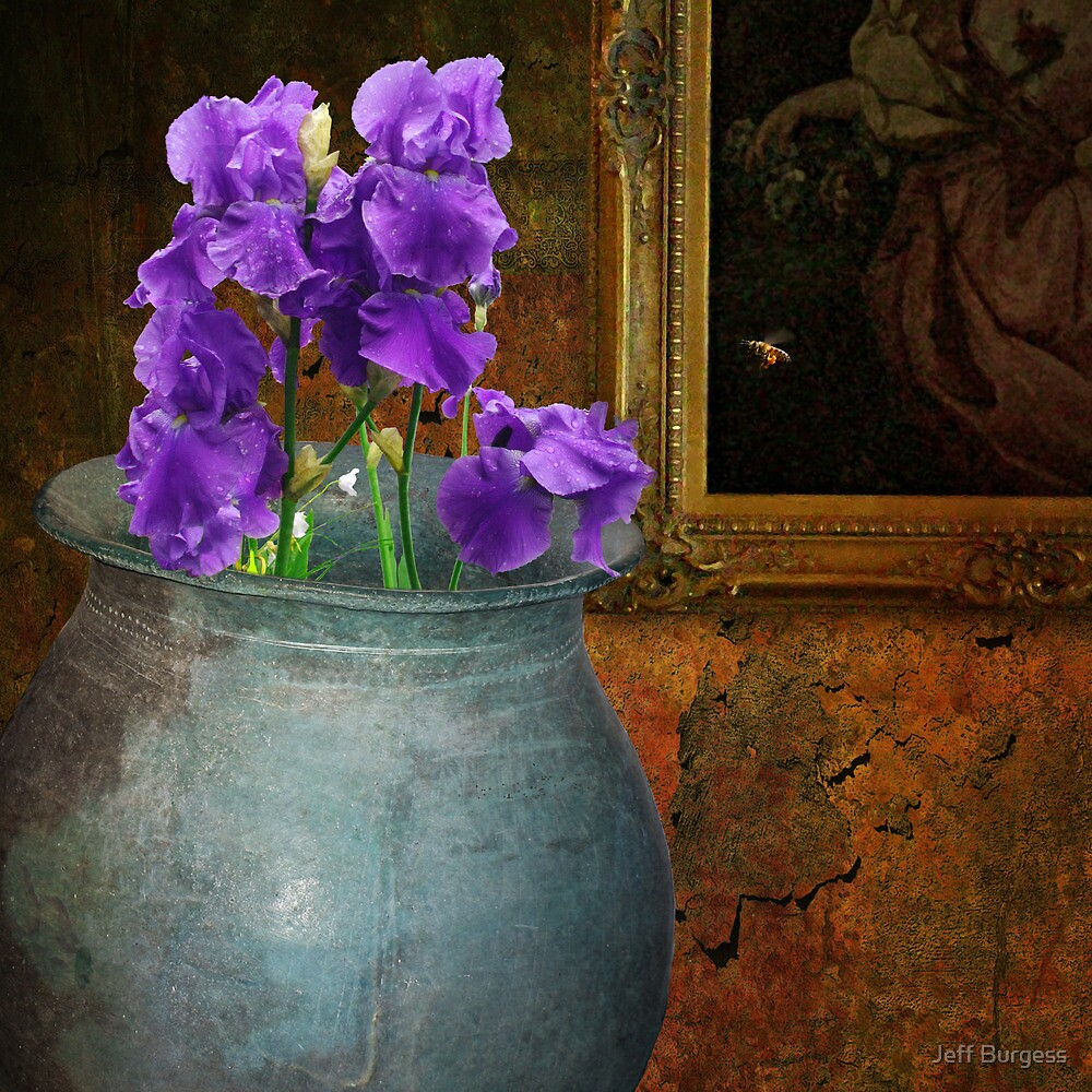 still life - pot with iris with bee by Jeff Burgess
