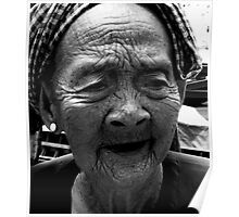lines vietnam old lady wrinkles story war story think thinking Poster