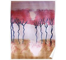 Trees in bloom (red)  Series  #1,, watercolor  Poster