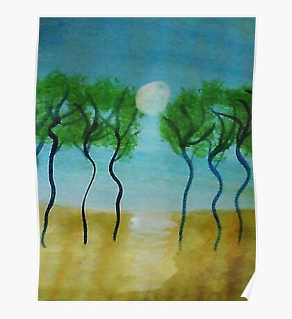 Trees(green) Series #2, watercolor Poster