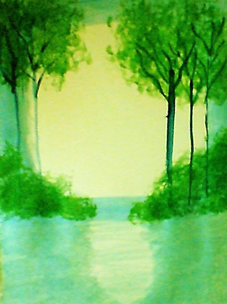 Trees in the halo of sunset, Series  #1,, watercolor  by Anna  Lewis, blind artist