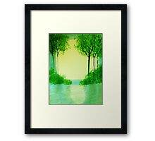 Trees in the halo of sunset, Series  #1,, watercolor  Framed Print