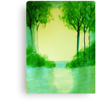 Trees in the halo of sunset, Series  #1,, watercolor  Canvas Print