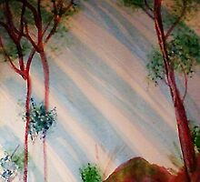Trees in forest with light streaming thru, Series #2, watercolor by Anna  Lewis