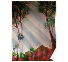 Trees in forest with light streaming thru, Series #2, watercolor Poster