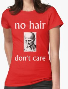 No Hair Don't Care with White Ink Womens Fitted T-Shirt