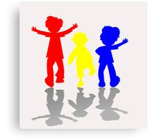 Colored kids silhouettes 2 Canvas Print