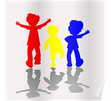 Colored kids silhouettes 2 Poster