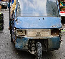 In need of slight repair, trader's van, street market, Siracusa, Sicily by Andrew Jones