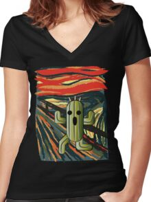 The cactilion scream Women's Fitted V-Neck T-Shirt