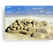 The lonely beach sculptor Metal Print