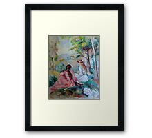 Two girls in a French countryside - Renoir copy Framed Print