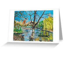 New York Central Park with Spring Yellow Willows Greeting Card