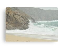 A windy day at Porth Curno West Cornwall Canvas Print