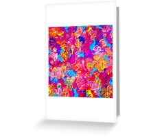 FLORAL FANTASY Bold Abstract Flowers Acrylic Textural Painting Neon Pink Turquoise Feminine Art Greeting Card
