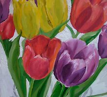 Sun through tulips, red, yellow, purple by Helen Imogen Field