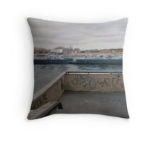 Barges - East River and Roosevelt Island, New York Throw Pillow