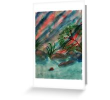 Abstract, Cliffs along waterscape, watercolor Greeting Card