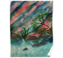 Abstract, Cliffs along waterscape, watercolor Poster