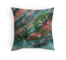 Abstract, Cliffs along waterscape, watercolor Throw Pillow