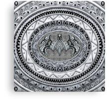 Bat God Black and white Aztec Pattern Canvas Print