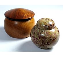 Stone and Wood Containers Photographic Print