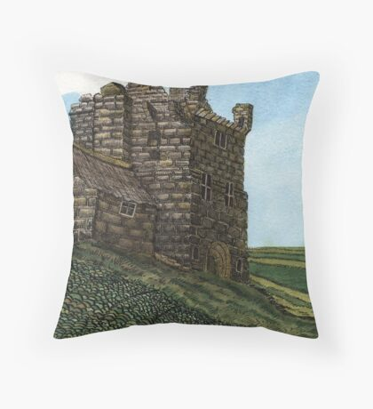 223 - MORPETH CASTLE IN 1777 - DAVE EDWARDS - INK & WASH - 2008 Throw Pillow