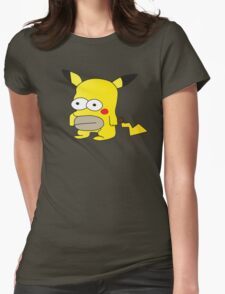 Pikachu + Homer Simpson Womens Fitted T-Shirt