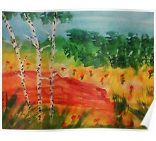 Lets pick flowers among the trees, watercolor Poster