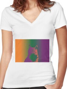 My Fat Cat Women's Fitted V-Neck T-Shirt