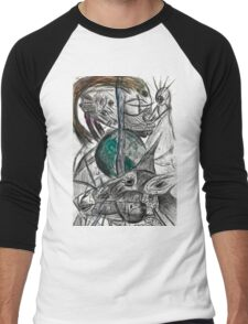 Wired Sheep with crown plugged into alien robot guy  Men's Baseball ¾ T-Shirt