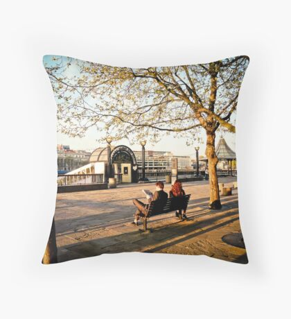 London Bridge City Pier at Sunset Throw Pillow